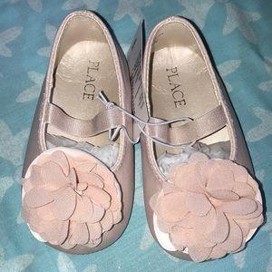 Pink flower ballet shoes